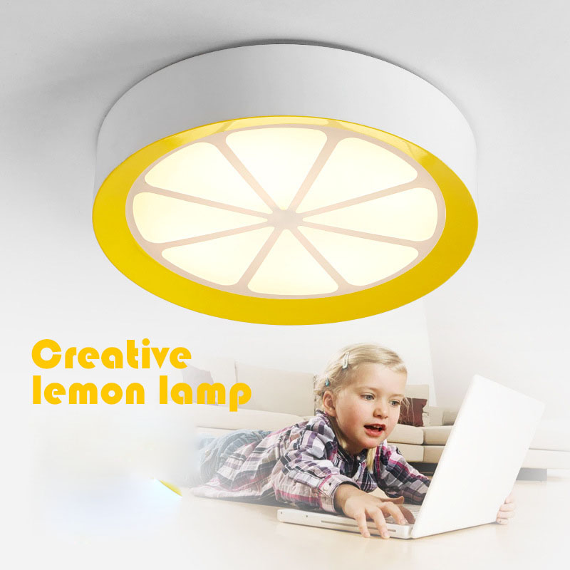 Cute Lemon shape Round Dia 40/50cm Acrylic LED ceiling lamp dimmable with remote control for bedroom dinning room children light