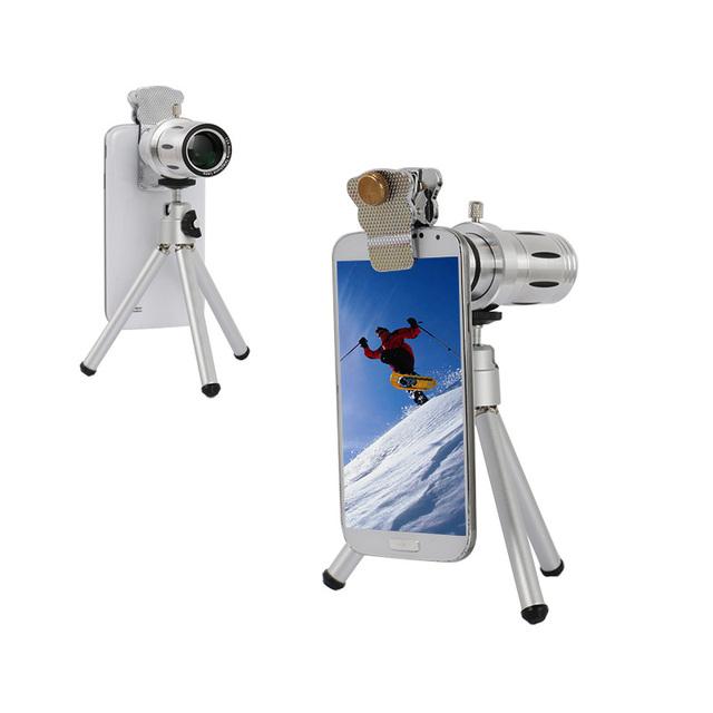 12X Zoom Óptico Del Telescopio Del Teléfono de La Cámara Len Kit Con Mini Trípode y universal del sostenedor del clip para iphone 6 s s6 nota 5 todos Smartphone