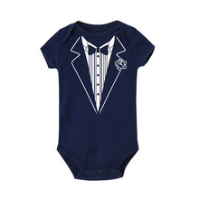 Newborn Baby Boy Clothes Bow Tie Gentleman Suit Baby Romper Jumpsuit First Birthday Outfit Boy Romper Tuxedo Shirt Outfit 3M-24M(China)