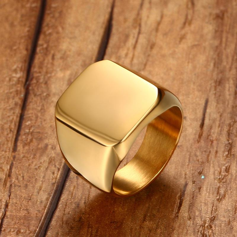 Men Club Pinky Signet Ring Personalized Ornate Stainless Steel Band Classic Anillos Gold Tone Male Jewelry Masculino Bijoux