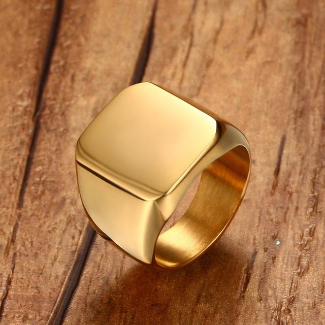 Men Club Pinky Signet Ring Personalized Ornate Stainless Steel Band Classic Anil