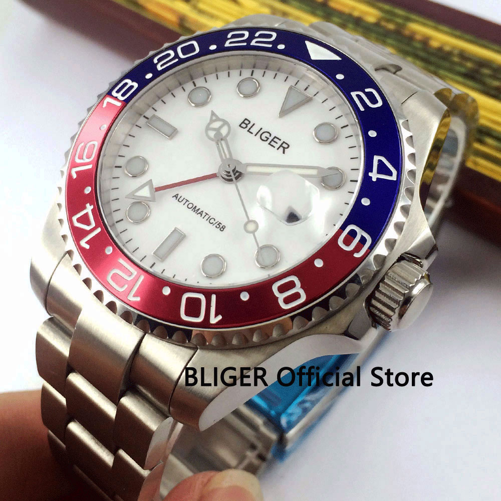 Sapphire Crystal 40mm BLIGER White Dial Men's WatchLuminous Marks GMT Function Blue Red Alloy Rotating Bezel Automatic Movement