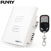 UK Standard Funry ST2 2Gang 170 240V RF433MHz Remote Control Lamp Touch Switch Luxury Glass Panel