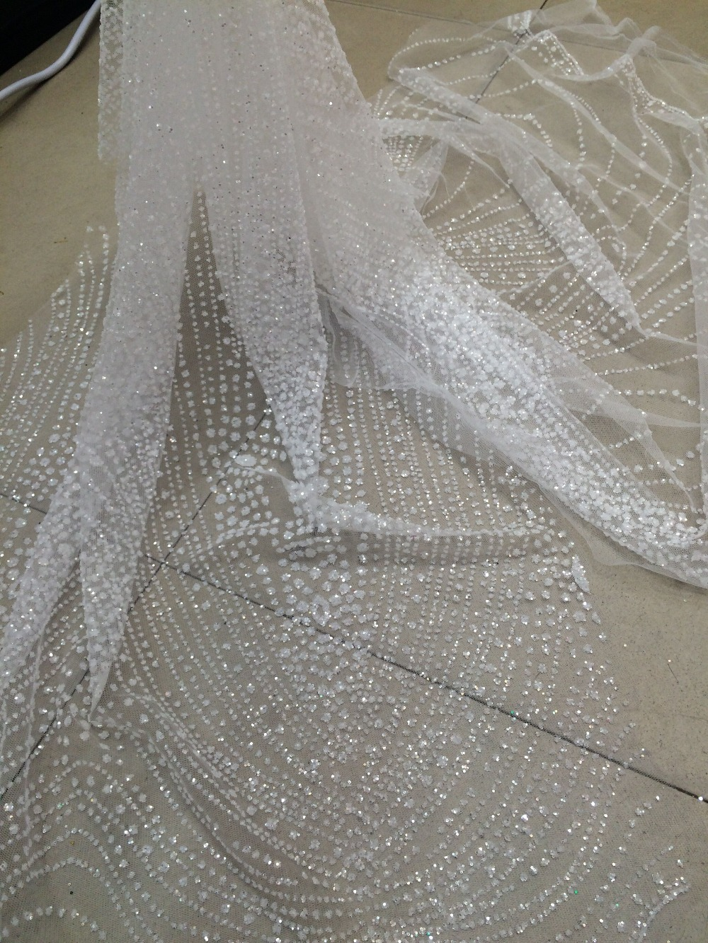 special David 52721 1 tulle lace fabric with glued glitter white african tulle net lace fabric