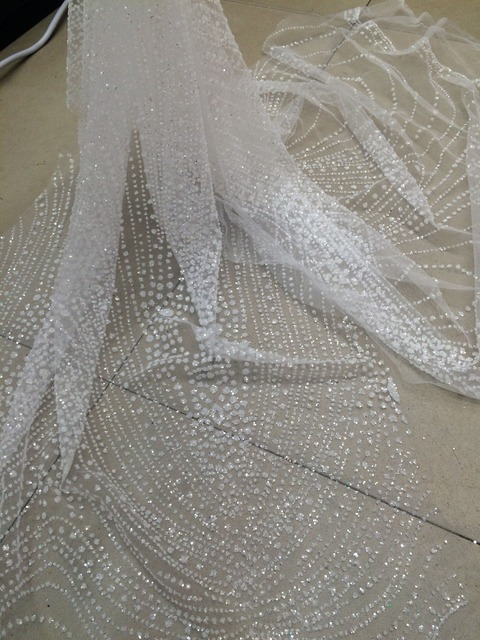 75673609775958 Speciale David-52721-1 tulle kant stof met gelijmd glitter wit afrikaanse tule  netto