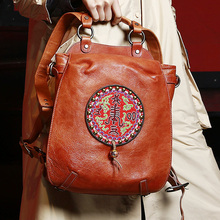 MENOGGA 2019 Luxury Backpack Men Cow Leather Bagpack Retro Design Chinese Embroidery Fashion Rivet Casual Travel Unisex
