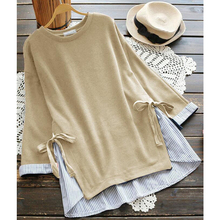 Fannic Women Striped Patchwork Pullover Autumn O Neck Long Sleeve Loose Blusas Casual Blouse Femme Top Bow Tie Shirt