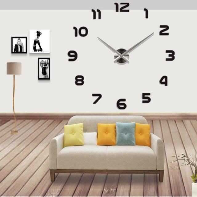 2019 E-COEUS 3D Apressado Relógios Espelho Relógio de Parede Digital Design Moderno Decorativo Led Relógio Criativo Relógio de Parede Presente Movimento de Quartzo