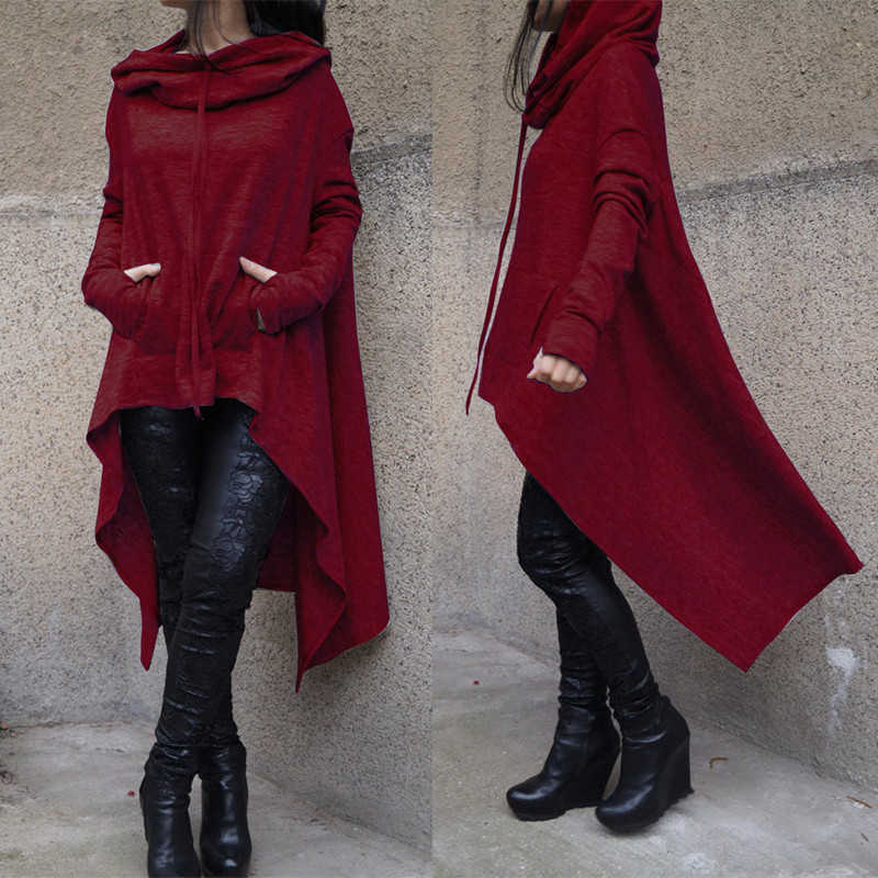 冬の秋のファッション特大パーカートレーナー女性ルースパーカーマントルフード付きプルオーバー生き抜くコート Vestidos Sudaderas Mujer