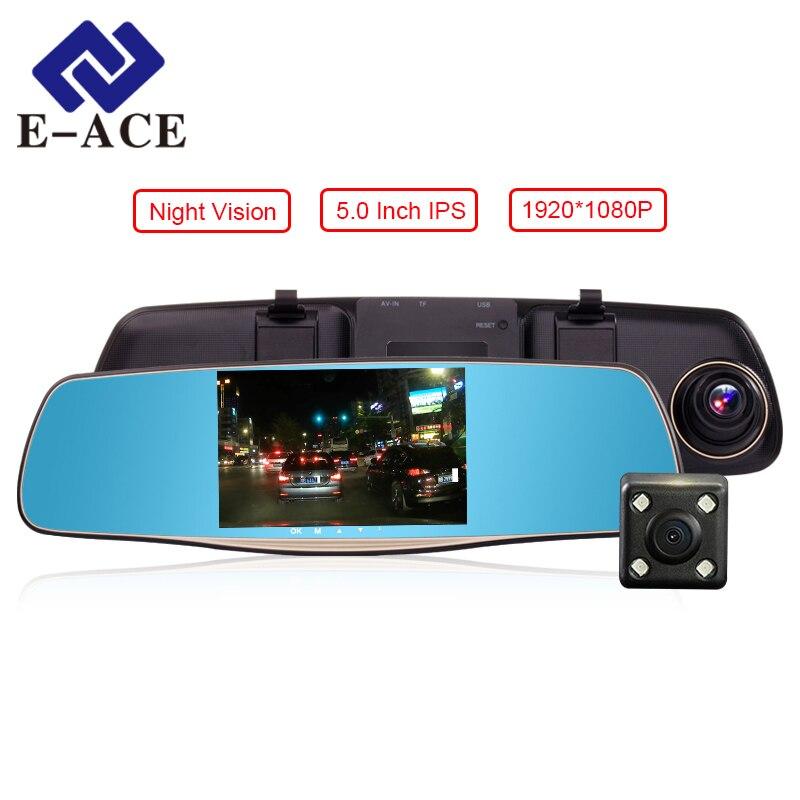 imágenes para E-ACE DVRs Cámara Del Coche de 5 Pulgadas Con Doble Lente de la Cámara Full HD 1080 P 30FPS de Vídeo Espejo Retrovisor Registratory Dashcam Noche visión