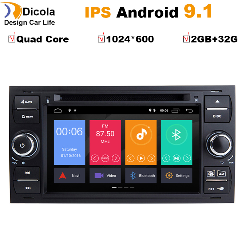 2 din Android 9.1 Car DVD Player For Ford Focus 2 Mondeo 4 Fiesta C-Max S-Max Fusion Transit Kuga Radio Multimedia Navigation