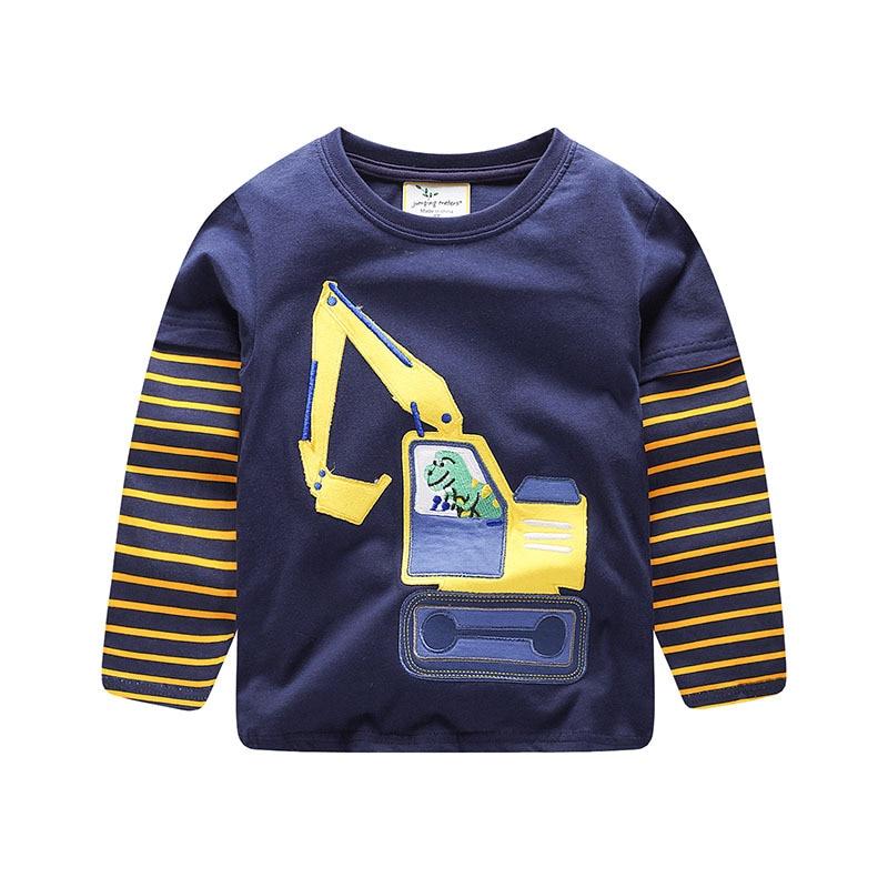 2019 roupa nova menino Em Torno do pescoço t-shirt de manga Comprida listrada costura top Bebê menina Meninos Crianças cotton Tops Tees Crianças roupas