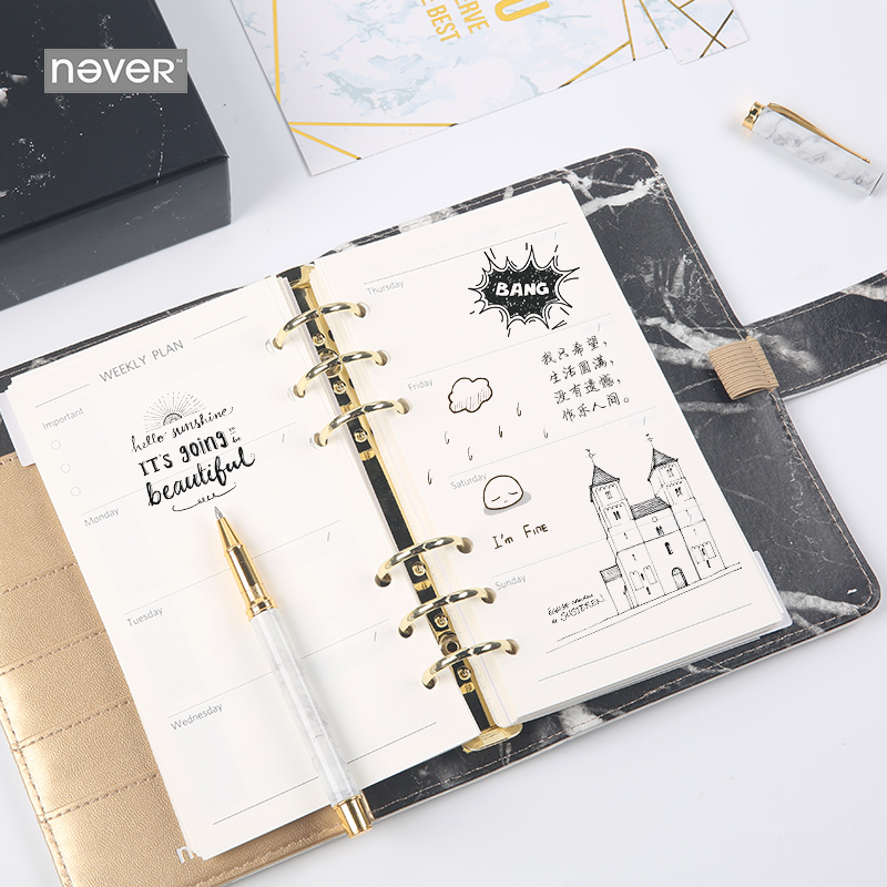 Never Marble Series PU Leather Cover Binder Notebook Diary Agenda A6 Planner Organizer Office & School Supplies Gift Stationery