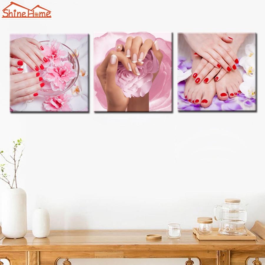 Shinehome 4pcs Wall Art Canvas Painting Printing Spa Yoga: ShineHome 3pcs Wall Art Canvas Printed Painting Makeup