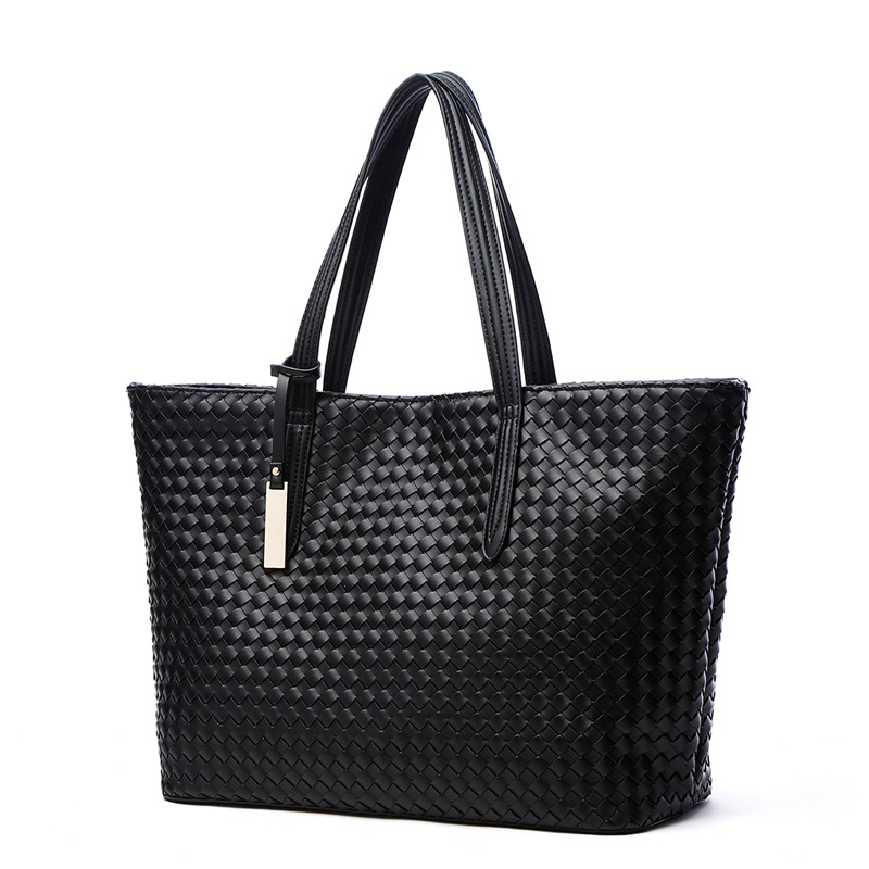 2018 New Women's Woven Casual Tote Bag Shoulder Bag Large Office Work Shopping Bag Female Purse bow decor flower woven tote bag