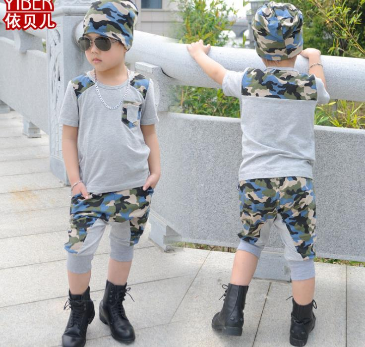 New 2017 Summer children's clothing set Green camouflage Costumes boy kids sport suits Hip Hop dance 100% cotton T-shirt & pants