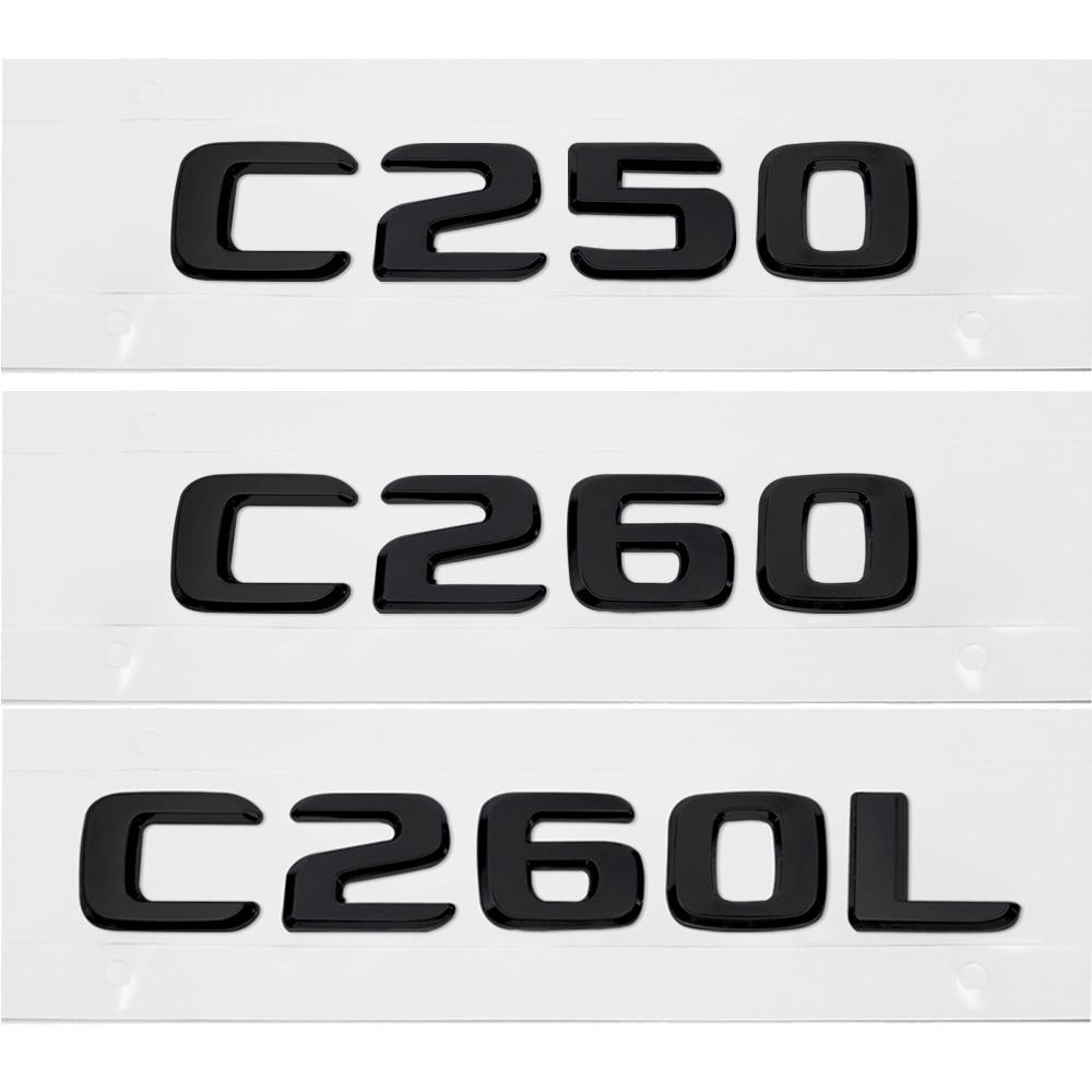 Black C250+AMG Trunk Logo Sticker Decal Emblem Badge Package For Benz W205 C250