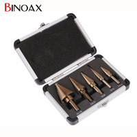 W00176 5pcs Set HSS COBALT MULTIPLE HOLE 50 Sizes STEP DRILL BIT SET W Aluminum