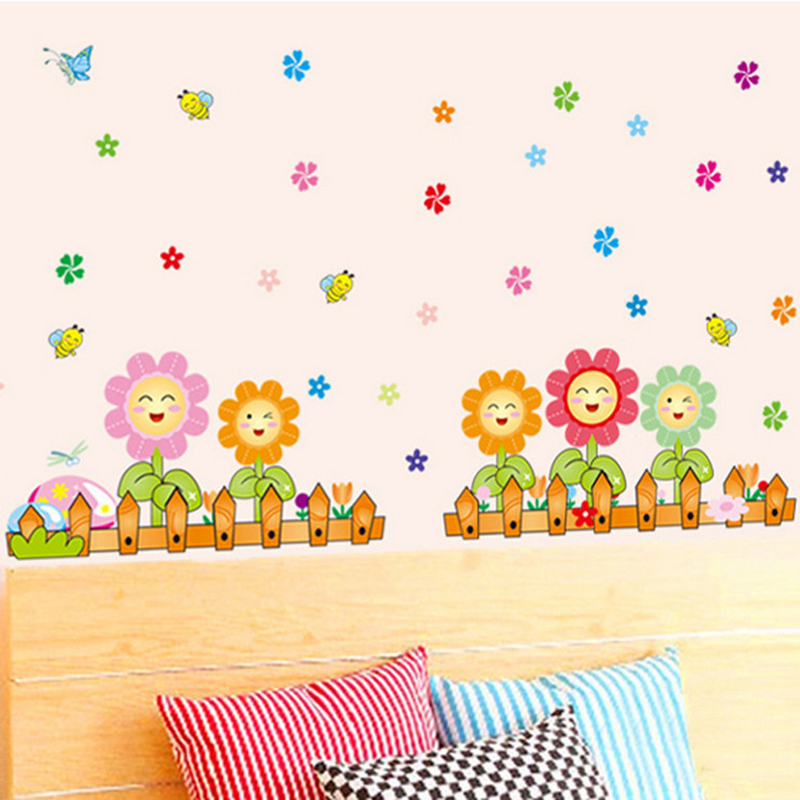 Colorful Smile Face Flower Fence Home Decor Wall Sticker