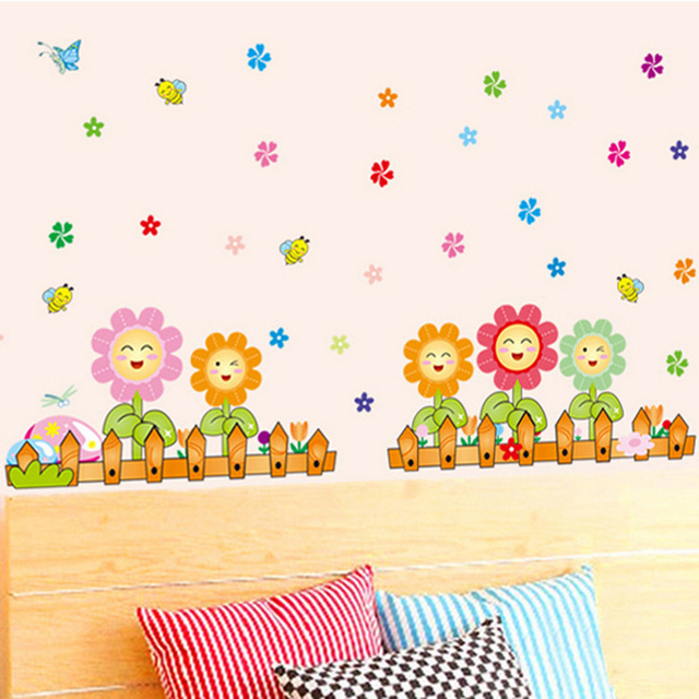 colorful smile face flower fence home decor wall sticker for kids