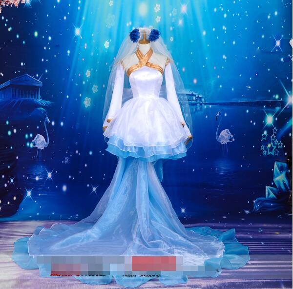 Anime VOCALOID cosplay Hatsune Miku cos Devil flowers marry princess girl long dress Trailing sweet costume Wedding dress