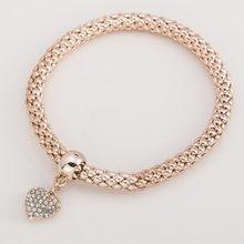 4c5f7566b13 Moda callejera simple temperamento Rosa color oro elástico palomitas de  maíz cadena serpiente lindo corazón colgante pulsera de .