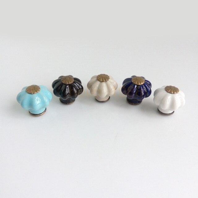 Bleu Noir Gris Violet Blanc 25mm Citrouille Lanterne En Ceramique