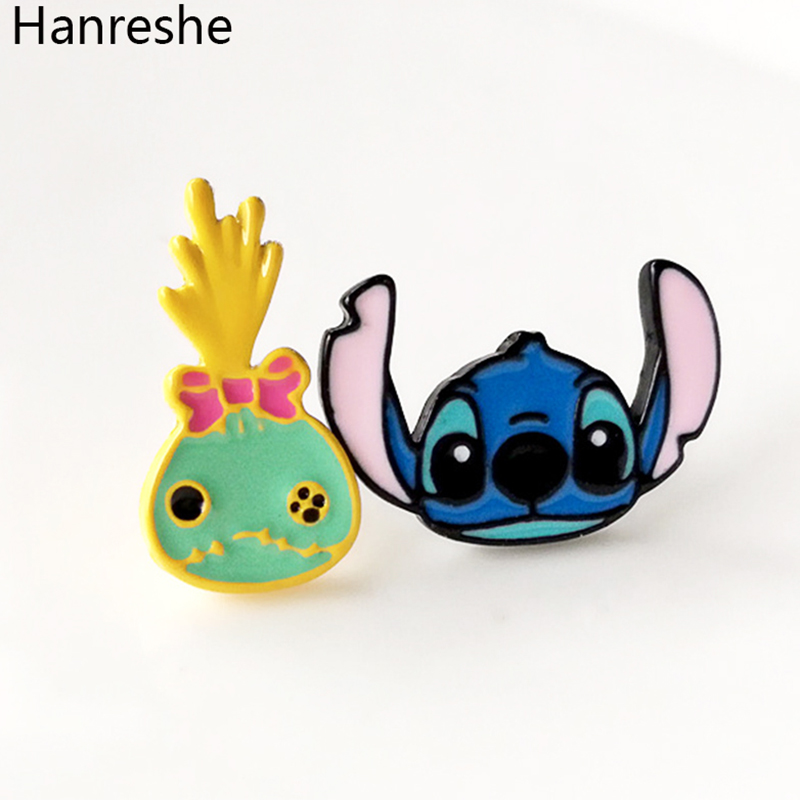 f92dad6e46d Cartoon Lilo   Stitch Lovely Enamel Earrings Fashion Jewelry Accessories  for Female Gift Classic Anime Cosplay Earrings