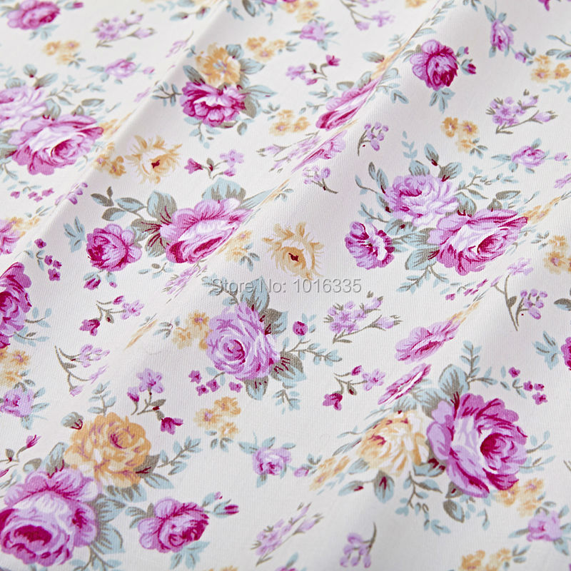 100 cotton fabric purple rose pattern patchwork sewing for Purple baby fabric
