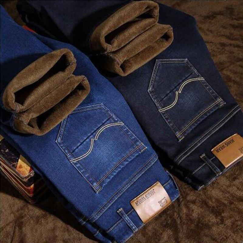 Men Classical Thick Pants Simple Fleece Plush Jeans Homme 2018 New Fashion Winter Men's Jeans Slim Fit Velvet Warm Jeans