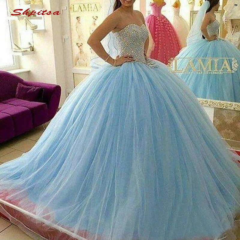 Luxury Crystal Quinceanera Dresses Ball Gown Sweetheart Tulle Sky Blue Prom Debutante Sixteen Sweet 16 Dress
