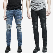 fashion mens jeans hole pants ankle cool blue jogger damage jeans rock star High Quality Casual destroyed skinny ruched jeans