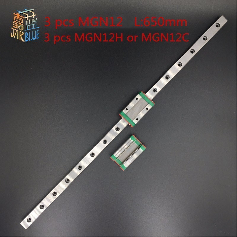 Kossel Pro Miniature MGN12 650mm linear slide :3 pcs MGN12-650mm rail and 3 pcs of MGN12H or MGN12C carriage 3d printer parts mgn12 1h l600 linear rail and carriage for kossel xl