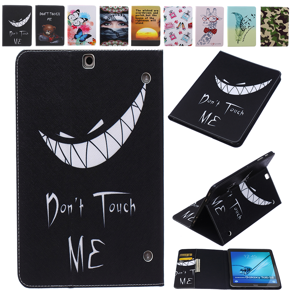 Fashion Flowers Pattern Series Card Slot PU Leather Book Stand Holder Cover Case For Samsung Galaxy Tab S2 9.7 SM-T810 T815