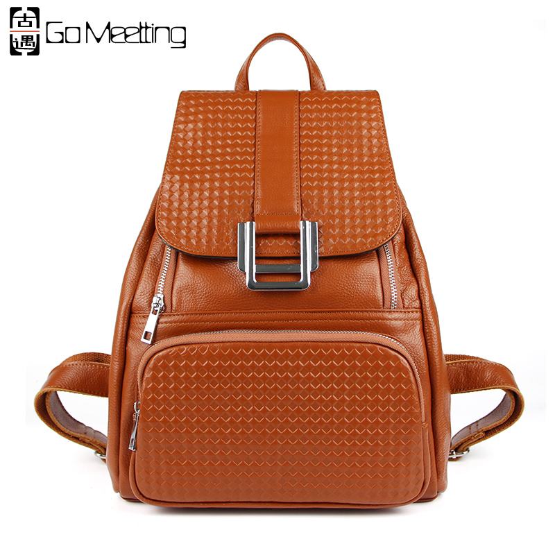 Go Meetting Fashion Genuine Leather Women Bag Backpack Preppy Style Girls School Bags embossed Cowhide Leather travel Backpacks go meetting fashion women waterproof oxford backpack famous designers brand shoulder bag leisure travel backpacks for girl