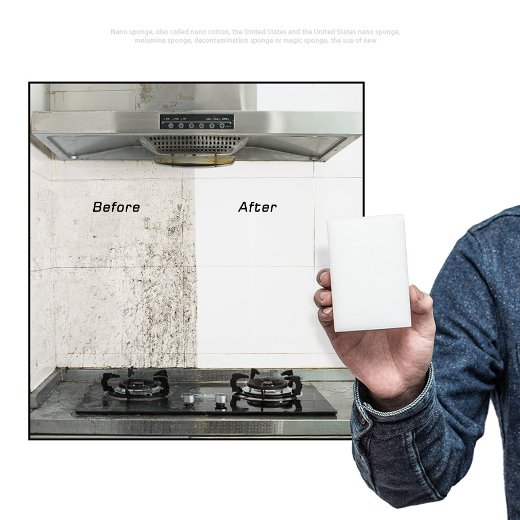 100pcs Magic Sponge Cleaner Super Decontamination Eraser Melamine Kitchen Office Cleanin ...
