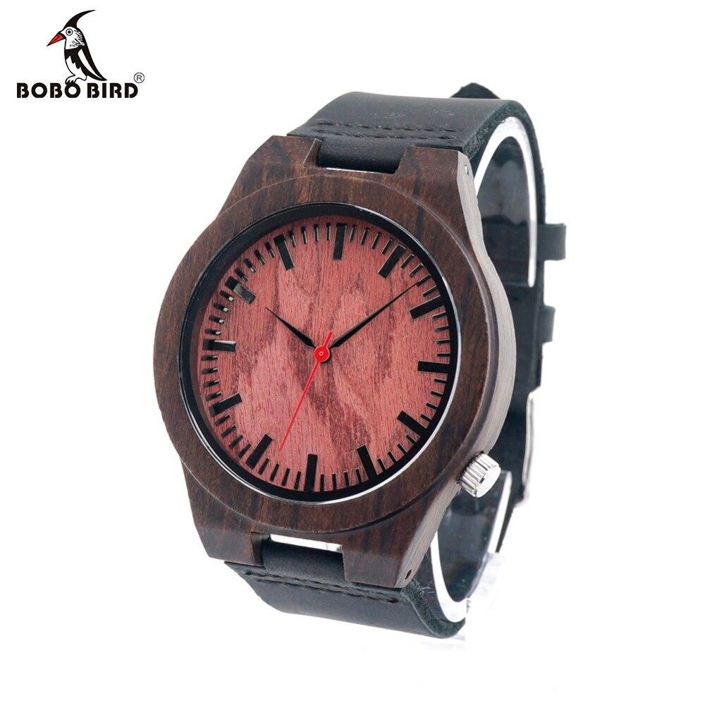 BOBO BIRD B15 Ebony Wood Men s Designer Red Sandalwood Quartz Watch With Genuine Leather Strap
