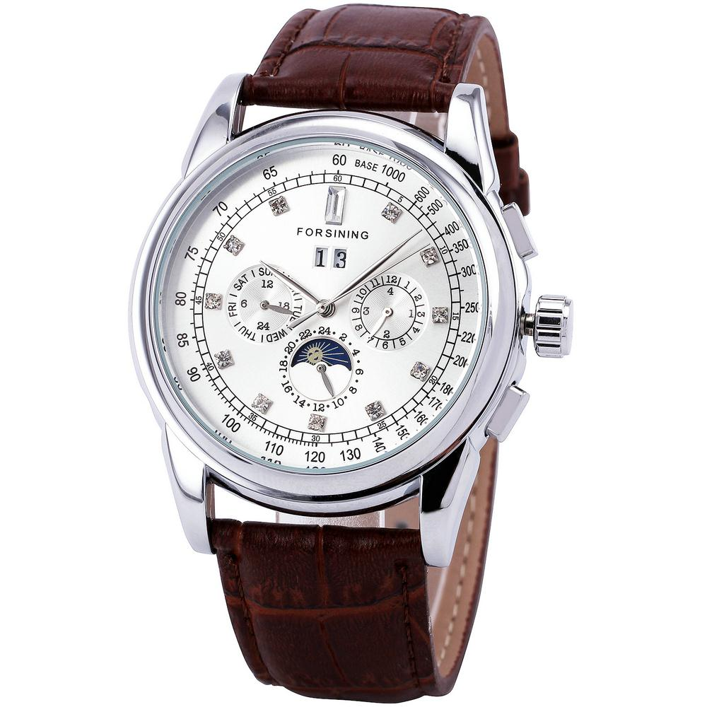 WINNER Men s Fashion Chic Mechanical Wrist Watch Date Week Moon Sun 24 Hours Display Three