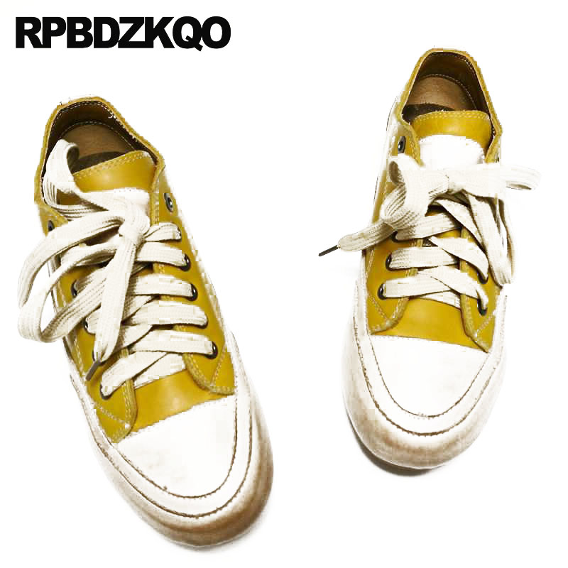 genuine leather trainers round toe handmade sneakers flats yellow designer shoes china cowhide 2018 chinese women lace up ladies