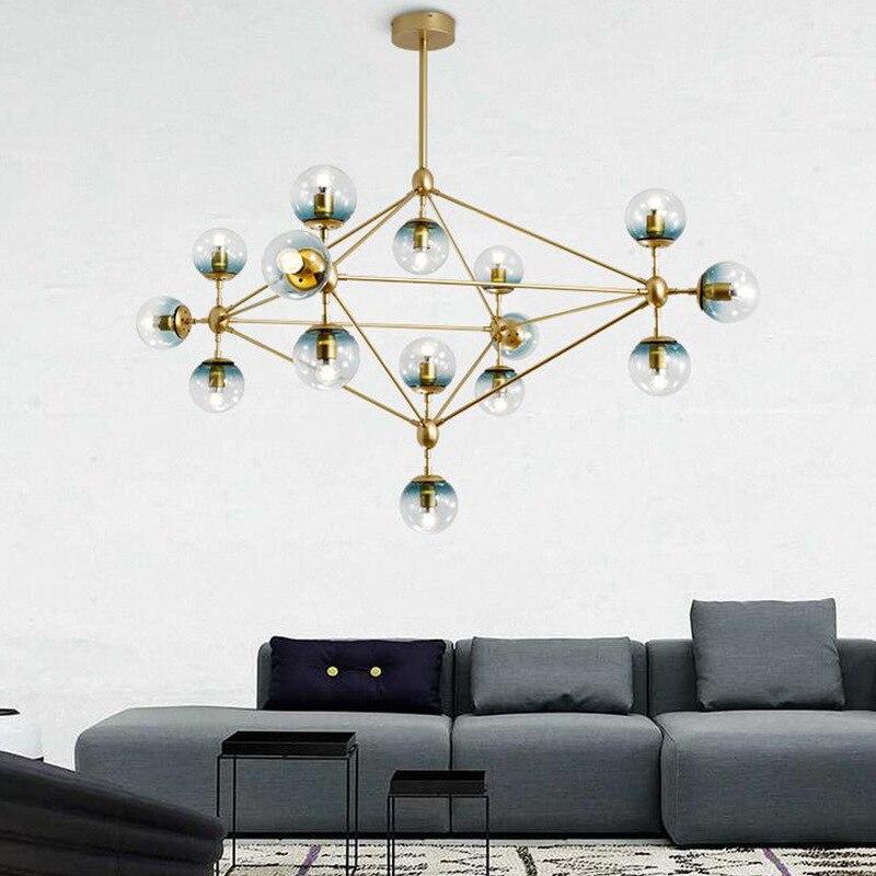 10/15/21 head golden color modo chandelier magic dna light glass globe  chandelier dining light ac90 260v free shipping glass globe chandelier  chandelier diningglobe chandelier - AliExpress