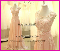 2015 Real Pictures Long Peach Bridesmaid Dresses Chiffon Lace Pearls Coral Prom Dress Vestido De Fiesta LB098