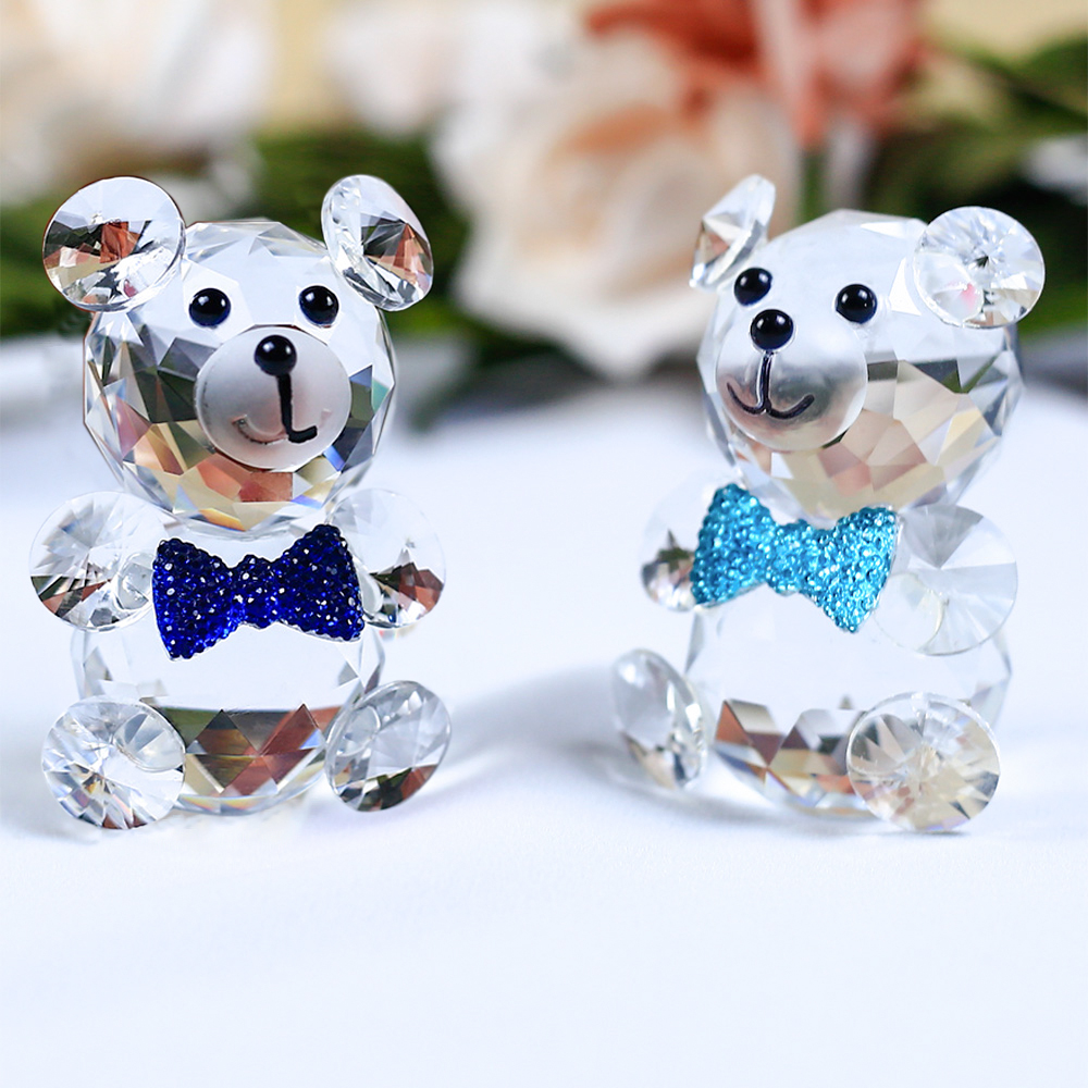 Cute Butterfly Decorative Bear Crystal Figurines Miniatures Glass Animal Crafts For Home Decor And Gift