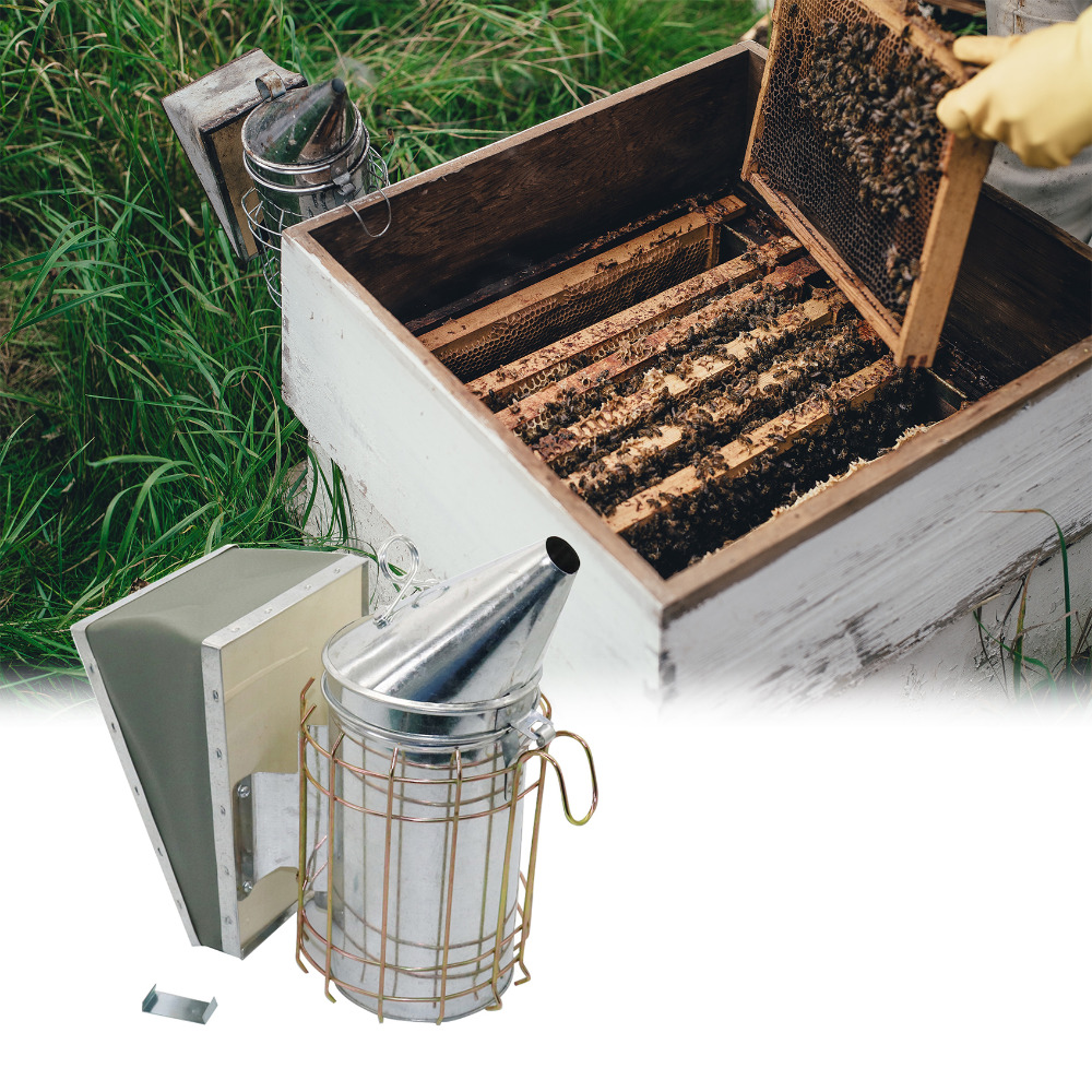 Stainless Steel Smoke Sprayer Bee Smoker Apiculture Beekeeper Dedicated Smoked Bee Beekeeping Equipment 1 Pc