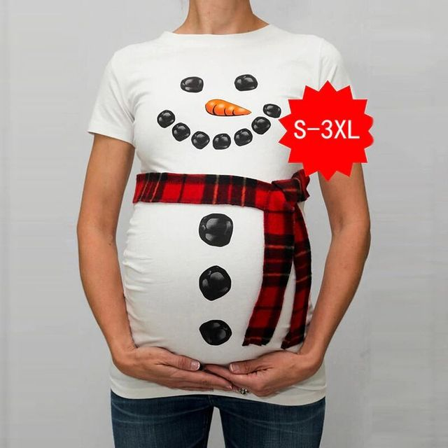 68156dae4d839 Trendy Tops of Maternity Clothes for Pregnant Women T-Shirts Funny  Christmas Snowman Print Pregnancy Clothing without scraf