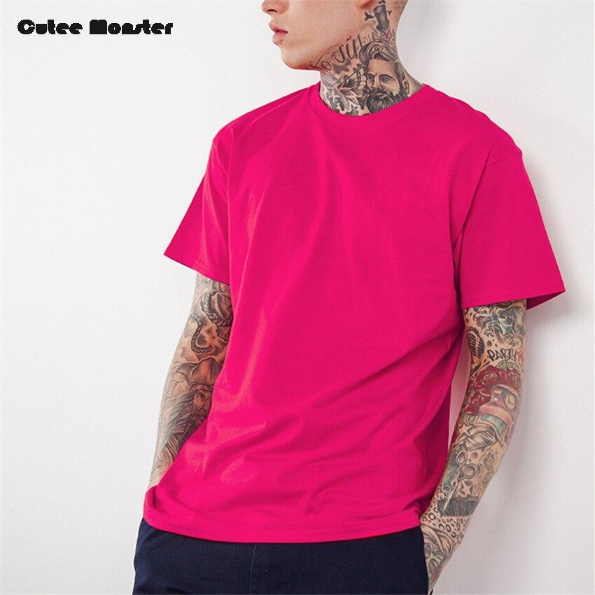 Rot Rosa t-shirt Männer 2017 Sommer Feste T-shirt Männlich baumwolle  Oansatz Spitze