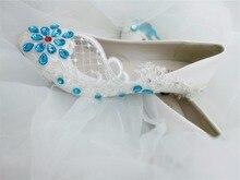Женщины Насосы синий/красный/зеленый Свадебные Туфли офисные Обувь Невесты/Свадебные Туфли Горный Хрусталь Кружева Обувь На Высоких Каблуках бесплатная Доставка