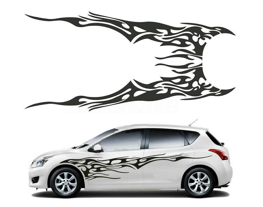 1 Pair Car Truck Flame Totem Graphics Side Decal Vinyl Body Sticker Cool Waterproof Auto Sticker Black