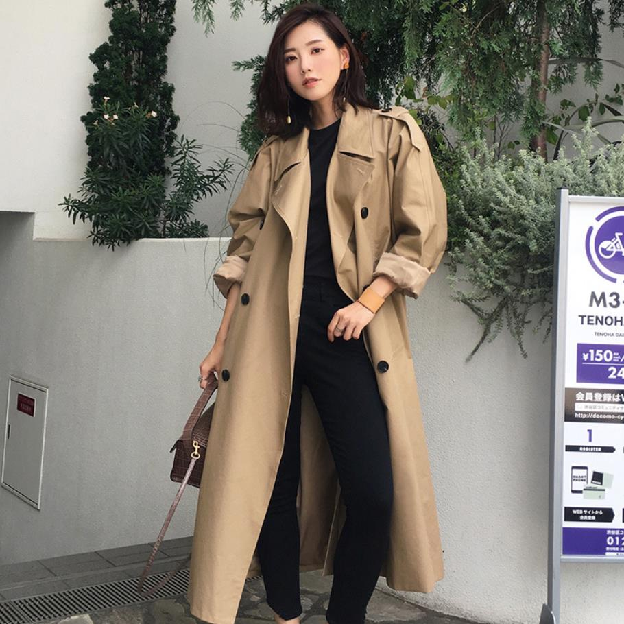 2019 spring autumn fashion high quality army green khaki   Trench   Coat Casual women's long Outerwear loose coat with belt