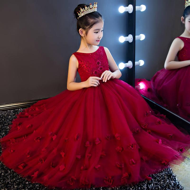 High Quality 2017 Sweet Princess Lace Embroidery Prom Party Kids Dress For Girls Elegant Long Flower