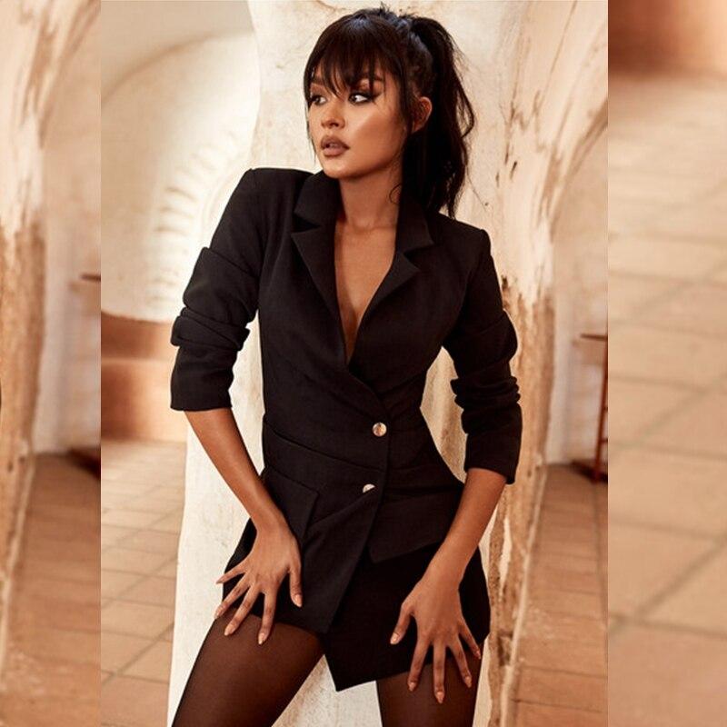 78274a86088 Tranchée À Festa 2019 Robe Manches Noire Nouvelles Longues Femmes Porter  Boutonnage Simple Club De Profond D hiver Col Mode Mince Sexy V ...